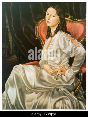 """""""Picture of My Wife"""" Portrait of a beautiful young  woman with ringlets. She is  seated on a red upholstered - Stock Photo"""