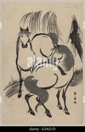Horses under a willow tree. Print shows two horses. Date between 1804 and 1818. - Stock Photo