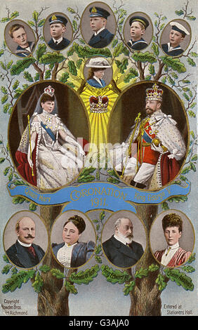 Coronation of George V. The British Royal Family Tree of 1911.     Date: 1911 - Stock Photo
