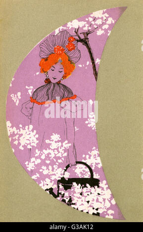 A pretty girl walks amid the spring blossom holding a watering can in this stylised scene with heavy art nouveau - Stockfoto
