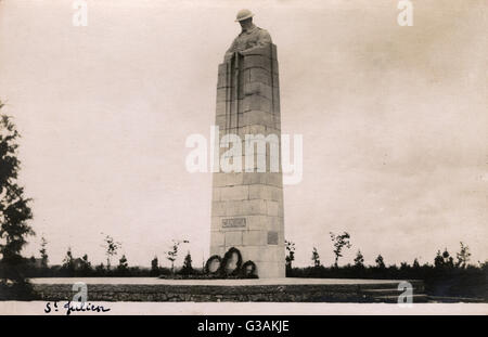 The memorial commemorates the 18,000 Canadian soldiers who withstood the first gas attack on April 22/24 1915 (Battle - Stock Photo