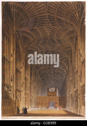 King's College Chapel,  showing details of the ornate ceiling       Date: circa 1820 - Stock Photo