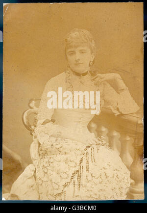 An elegant Victorian woman in a lacy dress: Mrs Wombwell.        Date: late 19th century - Stock Photo
