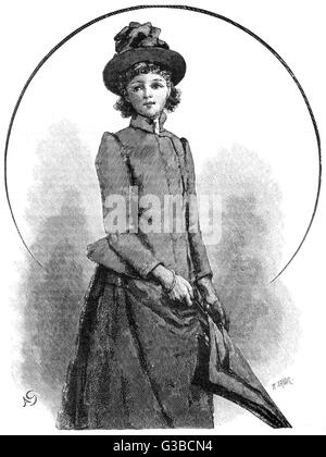 Young Victorian woman in outdoor dress.        Date: 1890 - Stock Photo