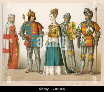 Clothing of English & Scottish  royalty, a lady of rank & a  knight & an earl in full  armour. Margaret - Stock Photo