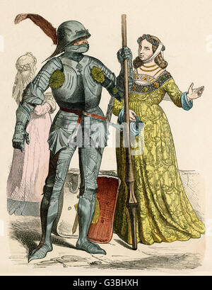 German Knight and his lady. He  wears a full suit of armour,  she wears an ornately  patterned gown and a burlet - Stock Photo