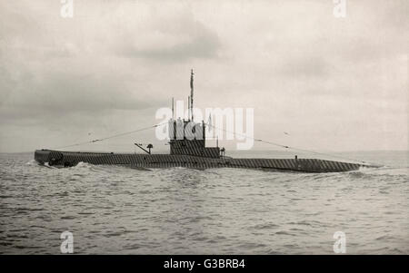 Royal Navy submarine towards the end of the First World War, with experimental zebra stripe camouflage.      Date: - Stock Photo