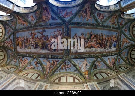 Ceiling frescoes, 1517-1518, Loggia of Cupid and Psyche, Villa Farnesina, Rome, Italy, Europe - Stock Photo