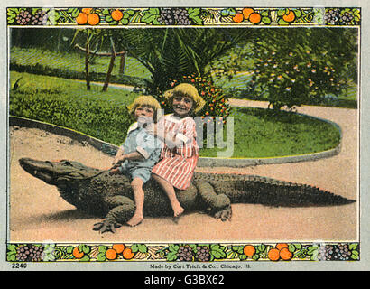Souvenir booklet, California Alligator Farm, Los Angeles, USA, showing two children riding on the back of an alligator. - Stock Photo