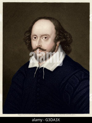 William Shakespeare (1564 - 1616) - English playwright and poet.  circa 1605 - Stock Photo