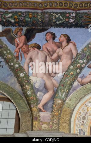 Cupid and the Three Graces, 1517-1518, Loggia of Cupid and Psyche, Villa Farnesina, Rome, Italy, Europe - Stock Photo