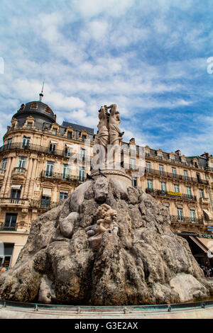 MONTPELLIER, FRANCE - JULY 13, 2015: The three graces fountain at Place de la Comedie. Fountain Three Graces, built - Stock Photo