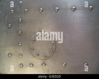 metal plate and rivets - Stock Photo