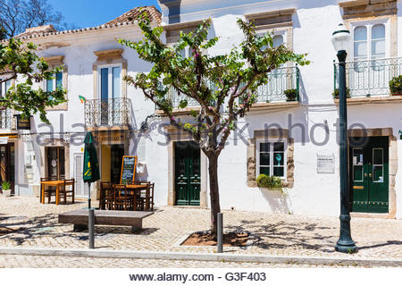 Tree in front of a white washed house front in the old town, Tavira, Algarve, Portugal - Stock Photo