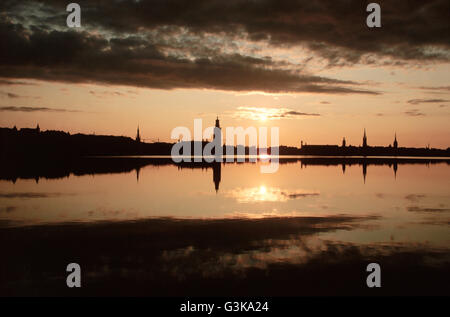 Sweden, Stockholm view of Old Town in sunrise - Stock Photo