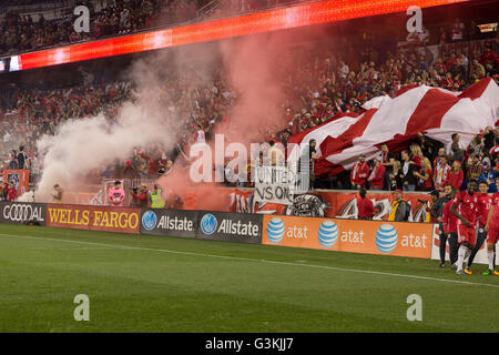 Harrison, United States. 24th Apr, 2016. New York Red Bulls fans celebrate on the Red Bulls arena after Red Bulls - Stock Photo