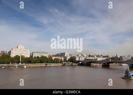 Shell Mex House and Waterloo Bridge panorama over the Thames, London, England, United Kingdom, Europe - Stock Photo