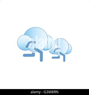 Abstract running clouds icon vector illustration isolated on white background. - Stockfoto