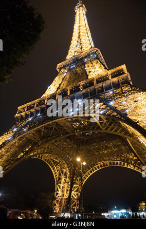 Eiffel Tower, Paris, France, view from  bottom - Stock Photo
