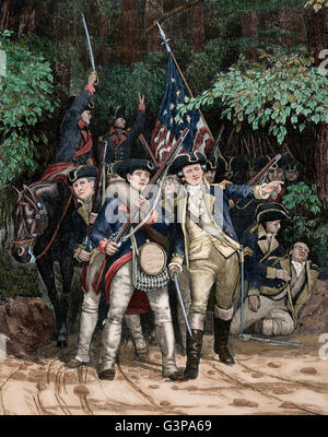 American Revolutionary War (1775-1783).  American revolutionary soldiers. Engraving by Julian Scott in Harper's - Stock Photo