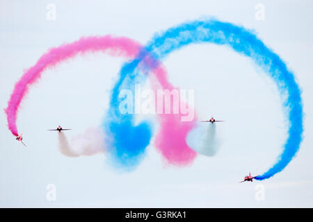 British Red Arrows demonstration team performing during the Royal Netherlands Air Force Days. - Stock Photo