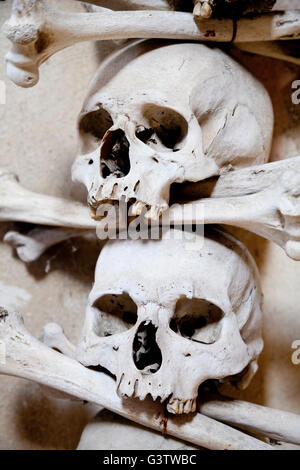 Skull and bone decoration in the Sedlec Ossary near Kutna Hora, Czech Republic - Stock Photo