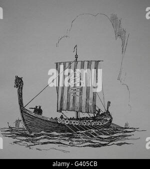 Viking ship. Viking Age (8th-11th century). Engraving. - Stock Photo