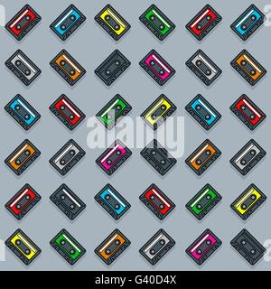 Vector image of colorful cassette collection over gray background - Stock Photo
