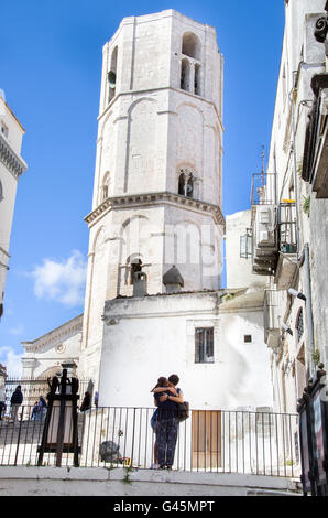 monte sant Angelo angioina tower couple hug italy - Stock Photo