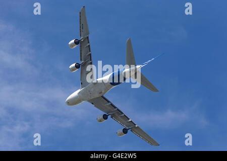 Airbus A380-841 F-WWOW displaying at the Farnborough International Airshow - Stock Photo