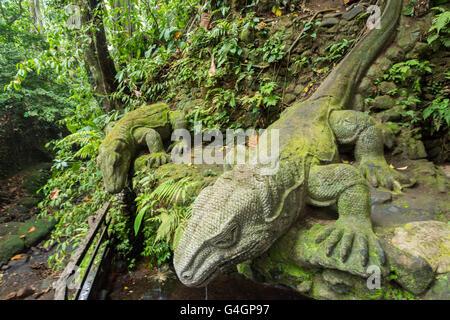 Giant Lizard in Sacred Monkey Forest Sanctuary, Ubud, Bali, Indonesia - Stock Photo