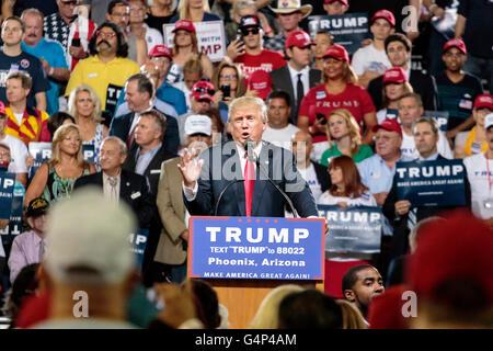 Phoenix, Arizona, USA. 18th June, 2016. Donald J. Trump speaks at a campaign rally at Veterans Memorial Coliseum - Stock Photo