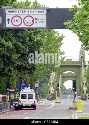 Explosion Hammersmith Bridge - Stock Photo