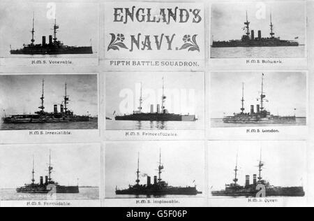 World War One - British Royal Navy - warships - Stock Photo