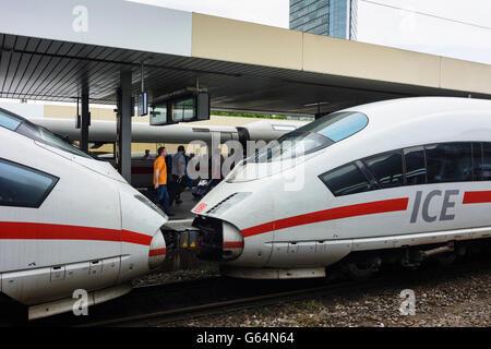 3 ICE trains of Deutsche Bahn ( DB AG ) in Mannheim Train Station, Mannheim, Germany, Baden-Württemberg, Kurpfalz - Stock Photo