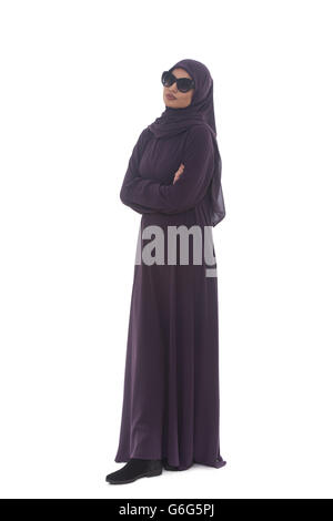 Young Muslim Woman In Head Scarf With Modern Clothes And Sunglasses - Isolated On White - Stock Photo