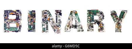 The word   BINARY made  with letters that are made of computer parts - Stock Photo