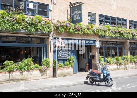 The Cambridge Brew House pub and restaurant King Street Cambridge UK with pretty window boxes outside - Stock Photo