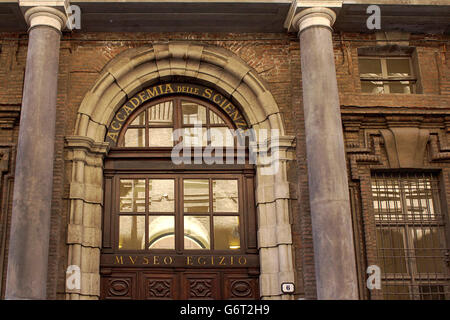 Entrance of the Egyptian museum in Turin, second largest Egyptian museum in the world, in Italy, Piedmont, May 2016 - Stock Photo