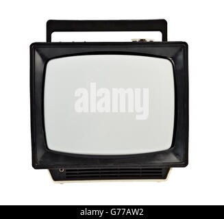 Vintage analog portable TV isolated on white - Stock Photo