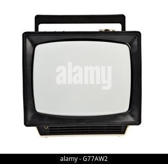 Vintage analog portable TV isolated on white - Stock Photo