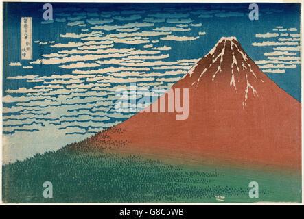 Katsushika Hokusai, published by Nishimuraya Yohachi (Eijudō) - Fine Wind, Clear Weather - Stock Photo
