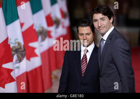 Ottawa, Canada on June 28. 1st Dec, 2016. Canada's Prime Minister Justin Trudeau(R) meets with Mexican President - Stock Photo