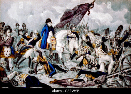 Napoleon on horseback at the Battle of Waterloo, June 18th 1815. Lithograph by N Currier, between 1835 and 1856 - Stock Photo