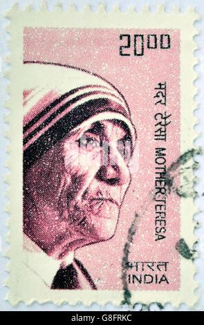 INDIA - CIRCA 2008: A stamp printed in India shows Mother Teresa of Calcutta, circa 2008 - Stockfoto