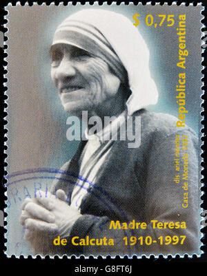 ARGENTINA - CIRCA 1997: A stamp printed in Argentina shows mother Teresa, circa 1997 - Stockfoto