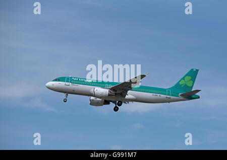 Are Lingus Airbus 320-214 Registration EI-DER 'St Mel' landing at London Heathrow Airport.  SCO 10,471 - Stock Photo