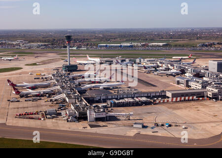 Aerial view of the London Heathrow Airport - Stock Photo