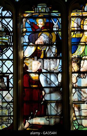 St Christopher, stained glass, King's College Chapel, Cambridge University, Cambridgeshire, England, UK, GB, Europe - Stock Photo