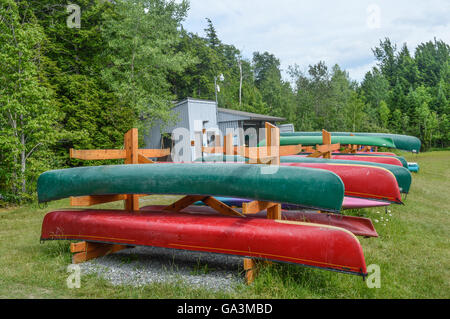 Group of canoes and kayaks on a green grass in park, Canada. - Stock Photo
